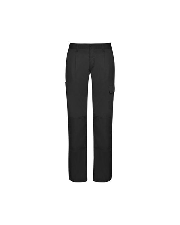 Pantalón largo de tejido resistente.  1.- Cinturilla ajustable elástica en parte trasera. 2.- Dos bolsillos frontales. 3.- D