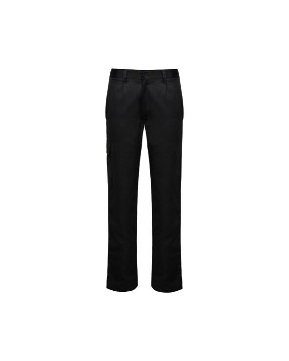 Pantalón laboral largo de tejido resistente. 1.- Cintura ajustable elástica en parte trasera. 2.- Dos bolsillos frontales. 3