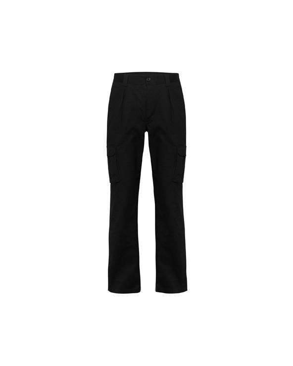 Pantalón laboral largo de tejido cómodo y flexible. 1.- Cintura ajustable elástica en parte trasera. 2.- Dos bolsillos fronta