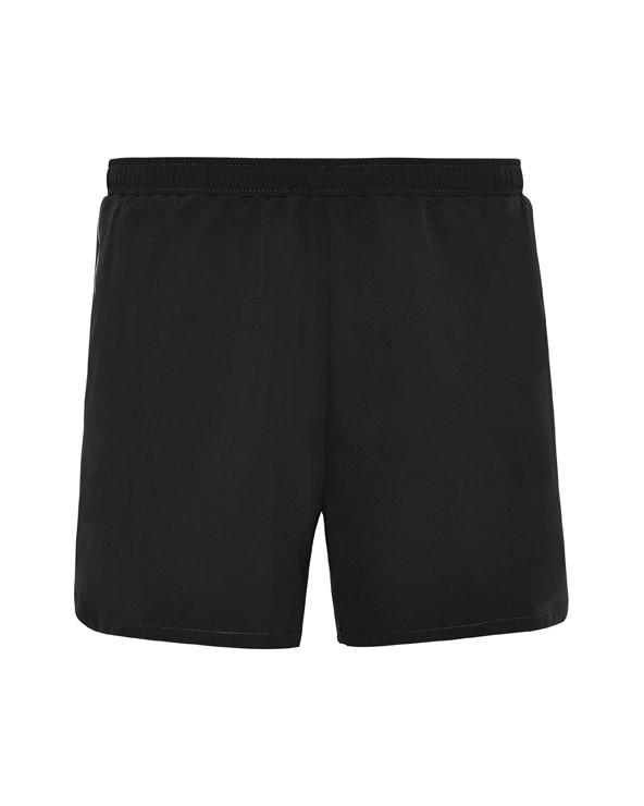 Pantalón corto deportivo con slip interior. Cinturilla elástica con cordón interior cruzado para facilitar ajuste. Tejido espec