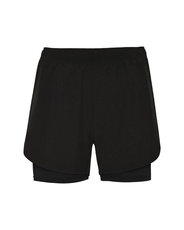 Pantalón corto deportivo para mujer con malla interior a contraste. Cinturilla elástica con cordón interior cruzado para facili