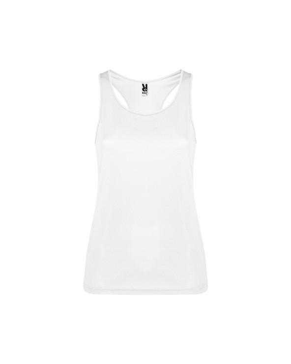 Camiseta deportiva con sisas y escote ribeteado. Espalda estilo nadadora y costuras laterales.