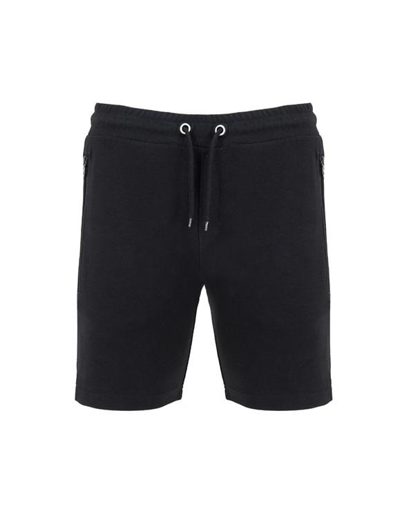 Pantalón corto con cinturilla elástica y cordón con ojales metálicos. Dos Bolsillos laterales con cremalleras invertida a tono