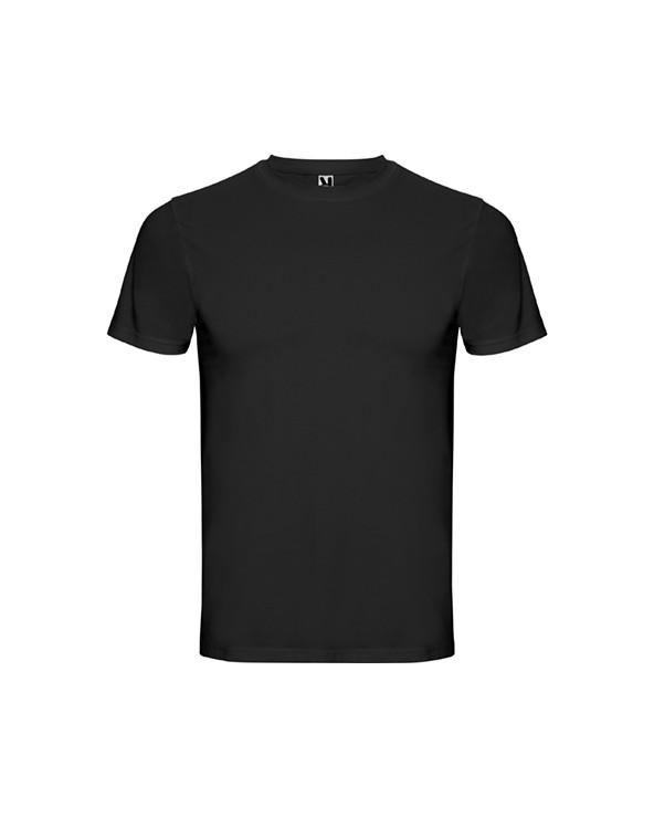 Camiseta interior de hombre de manga corta con cuello redondo en punto canalé 1x1. Cubrecosturas reforzado en el cuello. Tejido
