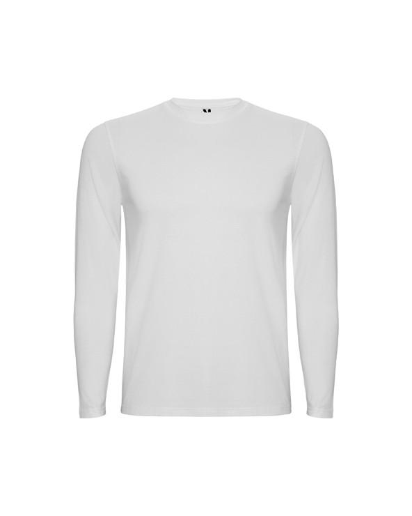 Camiseta interior de hombre de manga larga, con cuello redondo en punto canalé 1x1. Cubrecosturas reforzado en el cuello. Tejid