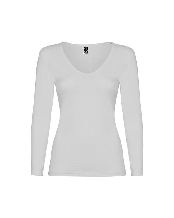 Camiseta interior de mujer de manga hasta ante brazo. Con cuello de pico y ribete en el mismo tejido. Costuras laterales. Tejid